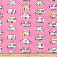 ArtCo Prints Canvas Happy Caravan Pink