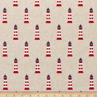 ArtCo Prints Canvas Nautic Lighthouse Red