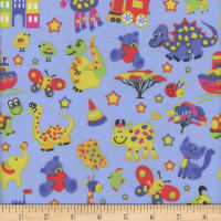 Flannel Melody Animal Zoo Blue