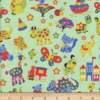 Flannel Melody Animal Zoo Green