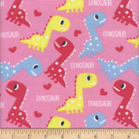 Flannel Melody Dinos Pink