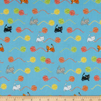 Stof Fabrics Denmark Crafty Critters Yarn Cats Turquoise