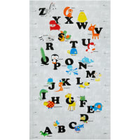 "Stof Fabrics Denmark Zoo Around Alphabet 24"" Panel Bright"