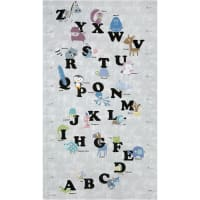 "Stof Fabrics Denmark Zoo Around Alphabet 24"" Panel Dusty"