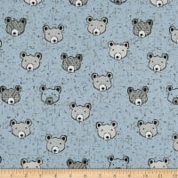 Stof Fabrics Denmark Wolly Bear Face Light Blue
