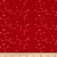 Stof Fabrics Denmark Petits Motifs Structure Triangle Red