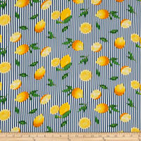 Telio Viscose Challis Print Lemon Stripe Navy