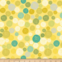 Stoffabric Denmark  Roadside Flowers Circle, Graphics, Dots Yellow