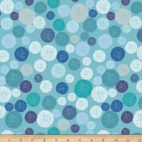 Stoffabric Denmark  Roadside Flowers Circle, Graphics, Dots Light Blue
