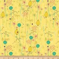Stoffabric Denmark  Roadside Flowers Leaf, Flowers, Animal, Nature  Yellow