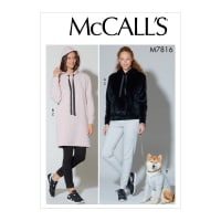 McCall's M7816 Misses' Top, Dress, Pants and Dog Coat Y (XSM-SML-MED)