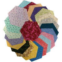 "Sit 'n Sew Precut Quilters Stash 5"" Hexagon 42 Pcs. Spring Blender"