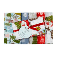 Happy Holidays Christmas Fat Quarter Bundle 5 Pcs Multi