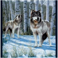 "Windham One Of A Kind Whistler Studios Snow Wolf  24"" Panel Multi"
