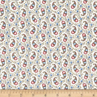 Windham Colonial Williamsburg Paisley Linen White