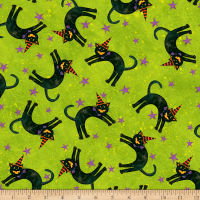 Susan Winget Halloween Cats With Hats Eco Canvas Green