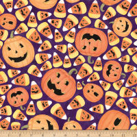 Susan Winget Halloween Pumpkins and Candy Corn Toss Eco Canvas Multi