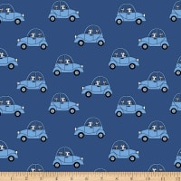 Stof Fabrics Denmark Avalana Jersey Knit Dogs in Cars Cobolt Blue