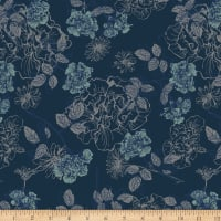 Stof Fabrics Denmark Avalana Jersey Knit Floral Night BLue