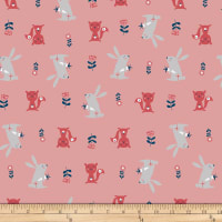 Stof Fabrics Denmark Avalana Jersey Knit Squirrel and Rabbit Old Rose