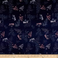 Stof Fabrics Denmark Avalana Jersey Knit Leaf Flowers Nature Blue