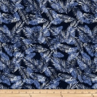 Stof Fabrics Denmark Avalana Jersey Knit Leaves Night Blue