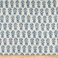 Batik Vine Sandwashed Silk Tussah Cream/Denim Blue