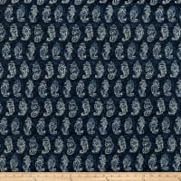 Batik Paisley Sandwashed Silk Tussah Denim Blue/Cream