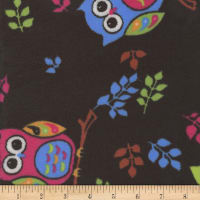 Super Soft Velour Fleece Owls Black