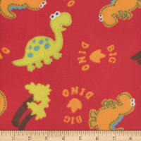 Super Soft Velour Fleece Big Dino Red