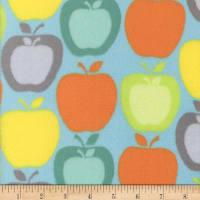 Super Soft Velour Fleece Apples Blue