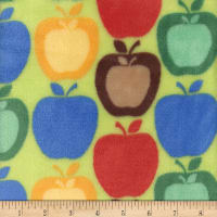 Super Soft Velour Fleece Apples Green