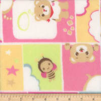 Super Soft Velour Fleece Teddy Bee Plaid Pink