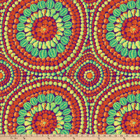 "Kaffe Fassett 108"" Quilt Backs Fruit Mandala Red"