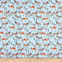 Paintbrush Studio Fabrics Croatia Donkey Love Sky Blue