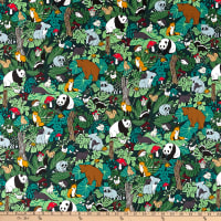 Paintbrush Studio Fabrics Menagerie Animal Gathering Green