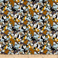 Paintbrush Studio Fabrics Menagerie Animal Cluster Grey/Brown