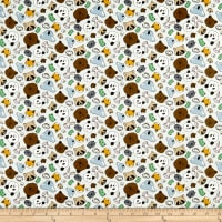 Paintbrush Studio Fabrics Menagerie Animal Faces Grey
