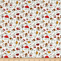 Paintbrush Studio Fabrics Menagerie Forest Mushrooms Eggshell