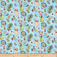 Paintbrush Studio Fabrics Ubuntu African Wildflowers Sky Blue/Olive