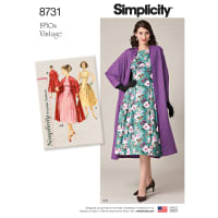 Simplicity 8731 Misses' Vintage Dress and Lined Coat R5 (Sizes 14-22)
