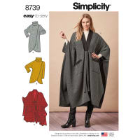 Simplicity 8739 Misses' Poncho and Topper A (XS-S-M-L-XL)