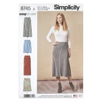 Simplicity 8745 Misses' Easy-to-Sew Knit Skirts A (XS-S-M-L-XL)