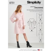 Simplicity 8751 Misses' Dress with Options for Design Hacking A (Sizes XXS-XXL)