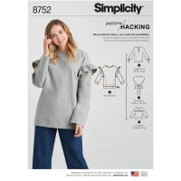 Simplicity 8752 Misses' Knit Tops with Options for Design Hacking A (Sizes XXS-XXL)