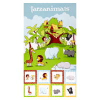 "Riley Blake Tarzanimals 24"" Panel Multi"