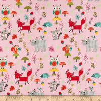 Riley Blake Flannel Forest Animals Main Pink