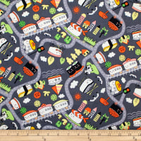 Trans-Pacific Textiles Oriental Sushi Train Nori-Grey