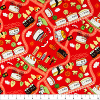 Trans-Pacific Textiles Oriental Sushi Train Ikura-Red