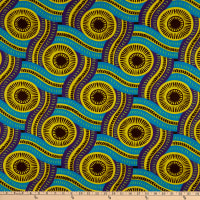 Shawn Pahwa African Ankara Print DTY Brushed Olothando Teal/Yellow